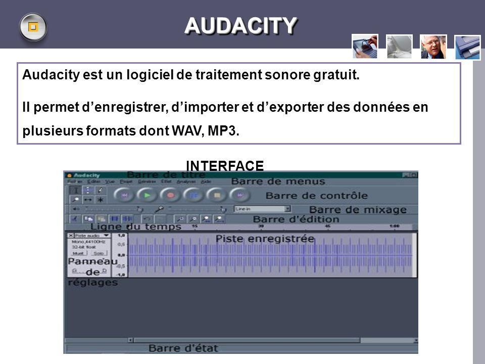 AUDACITY Audacity est un logiciel de traitement sonore gratuit.