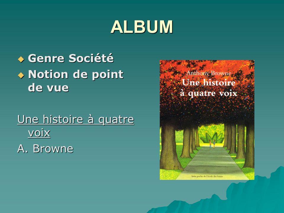 ALBUM Genre Société Notion de point de vue Une histoire à quatre voix
