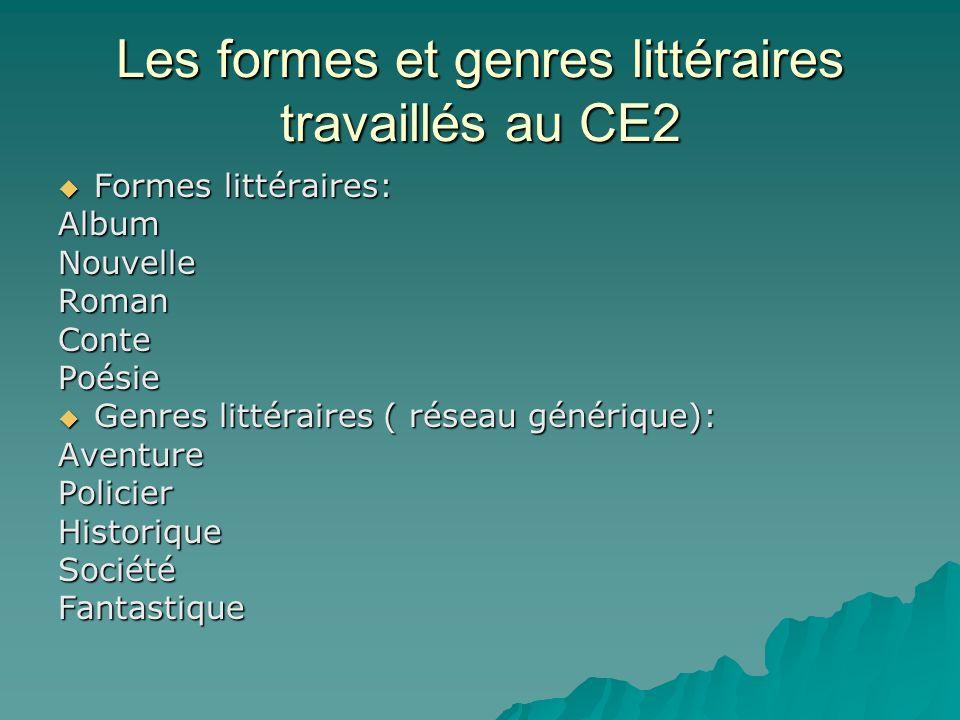 Les formes et genres littéraires travaillés au CE2
