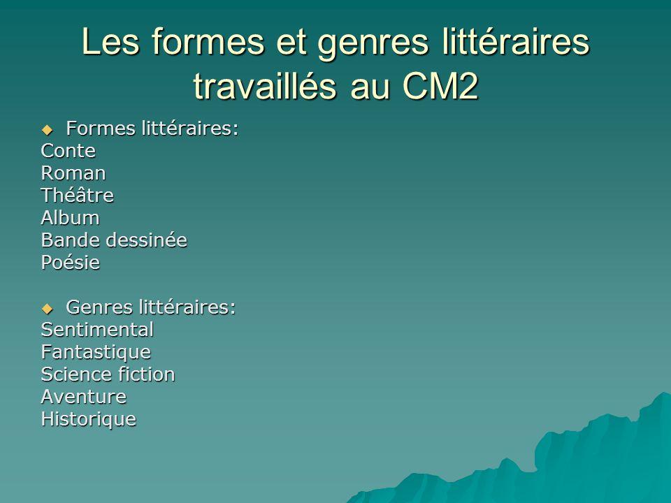 Les formes et genres littéraires travaillés au CM2