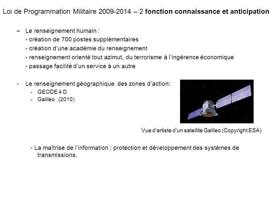 Loi de Programmation Militaire 2009-2014 – 2 fonction connaissance et anticipation
