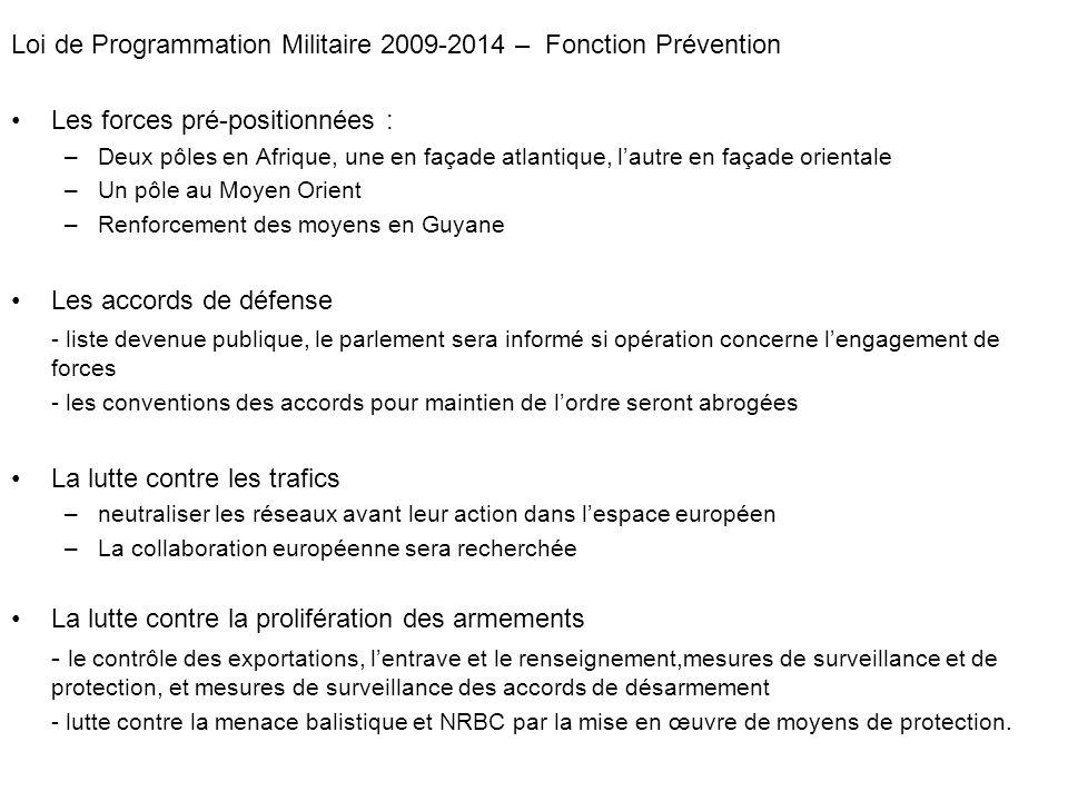 Loi de Programmation Militaire 2009-2014 – Fonction Prévention