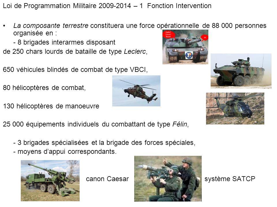 Loi de Programmation Militaire 2009-2014 – 1 Fonction Intervention