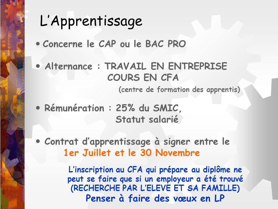 L'Apprentissage  Concerne le CAP ou le BAC PRO