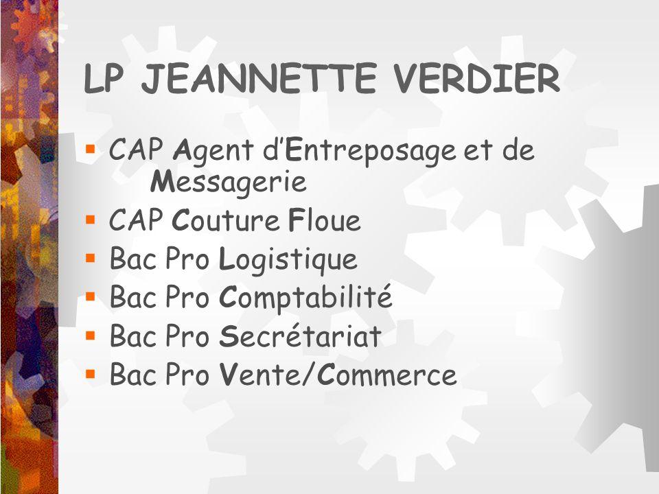 LP JEANNETTE VERDIER CAP Agent d'Entreposage et de Messagerie
