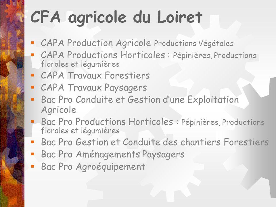 CFA agricole du Loiret CAPA Production Agricole Productions Végétales