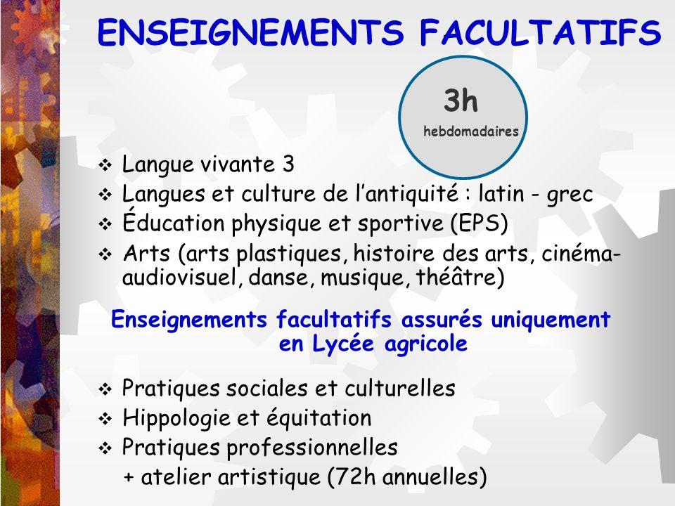 ENSEIGNEMENTS FACULTATIFS