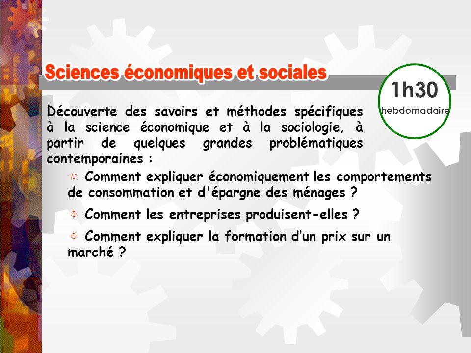 Sciences économiques et sociales Sciences économiques et sociales