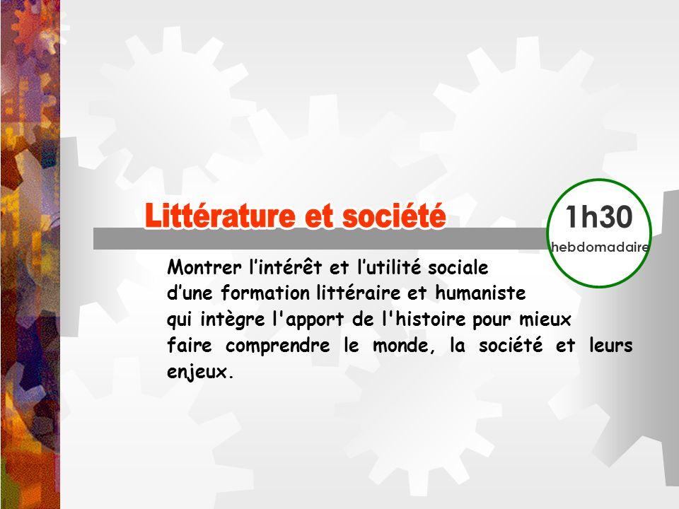 Littérature et société Littérature et société