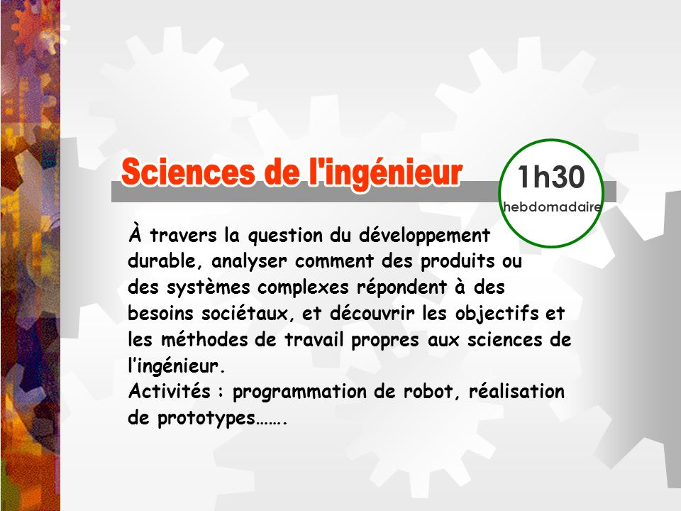 Sciences de l ingénieur Sciences de l ingénieur