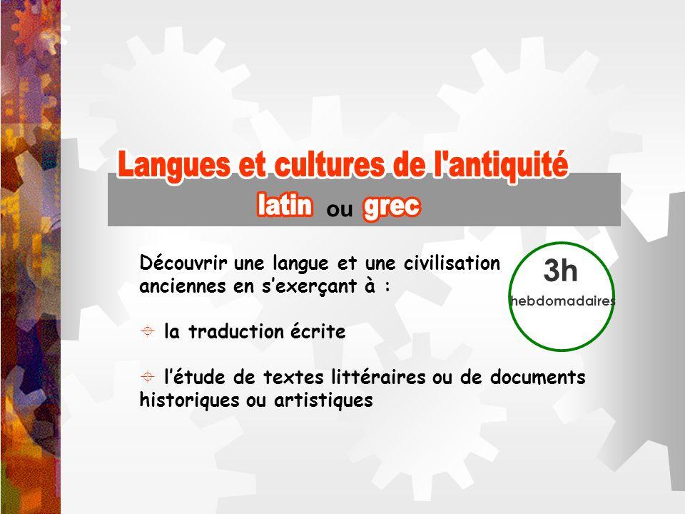 Langues et cultures de l antiquité Langues et cultures de l antiquité