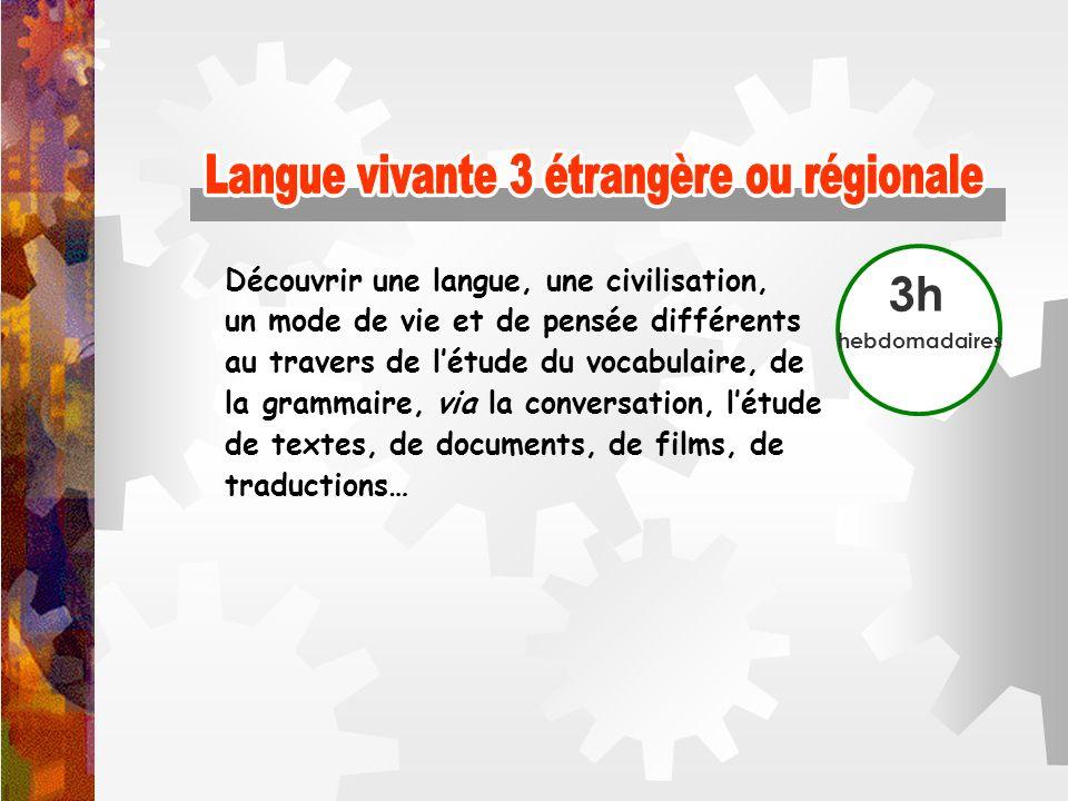 Langue vivante 3 étrangère ou régionale