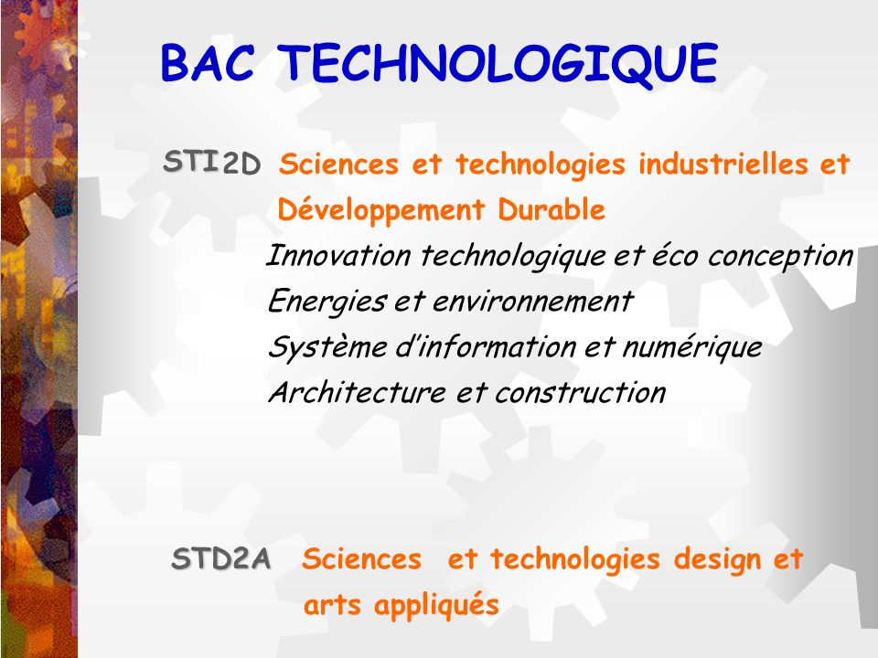 BAC TECHNOLOGIQUE STI 2D Sciences et technologies industrielles et