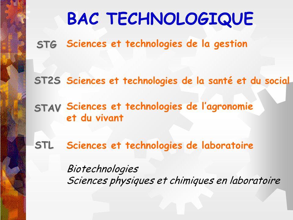 BAC TECHNOLOGIQUE STG Sciences et technologies de la gestion