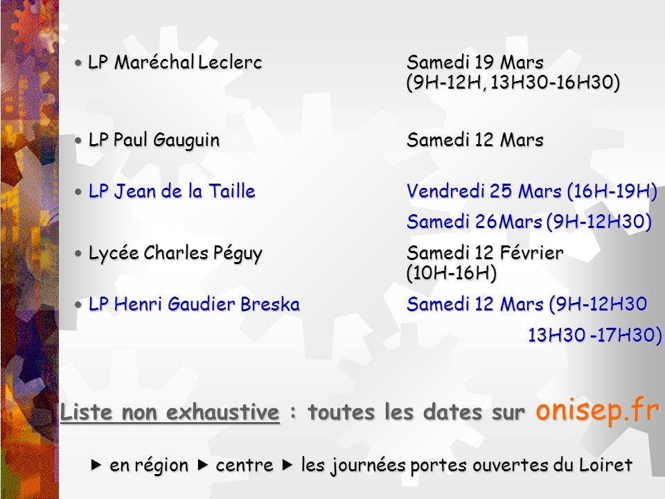 Liste non exhaustive : toutes les dates sur onisep.fr