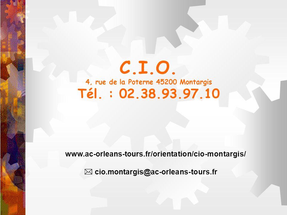 C.I.O. 4, rue de la Poterne 45200 Montargis Tél. : 02.38.93.97.10