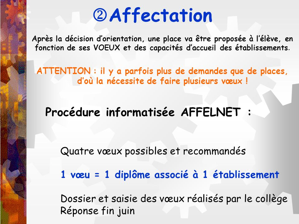 Affectation Procédure informatisée AFFELNET :