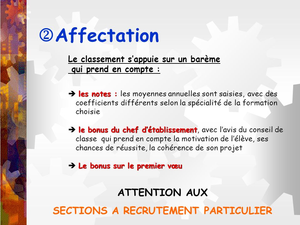 SECTIONS A RECRUTEMENT PARTICULIER