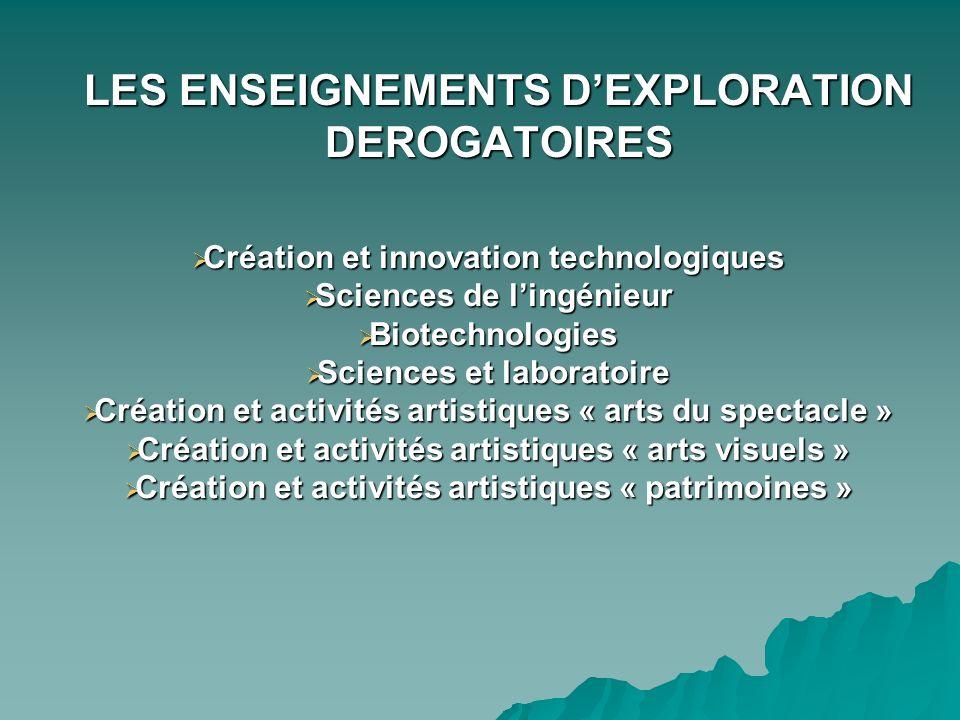 LES ENSEIGNEMENTS D'EXPLORATION DEROGATOIRES