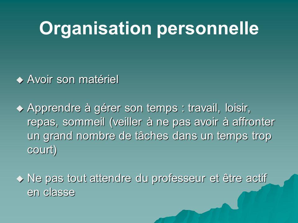 Organisation personnelle