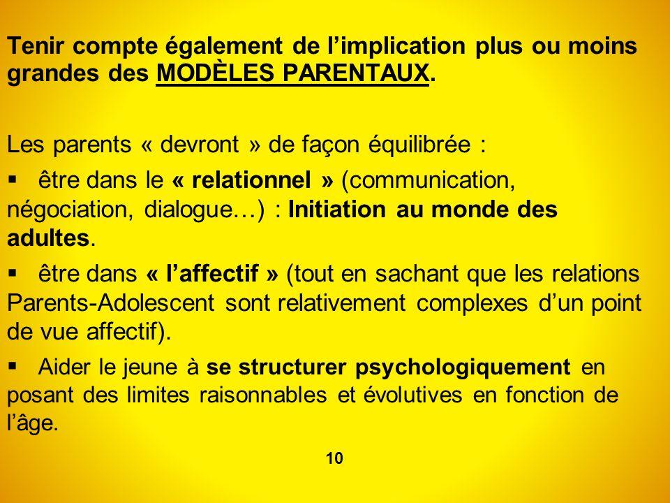 Les parents « devront » de façon équilibrée :