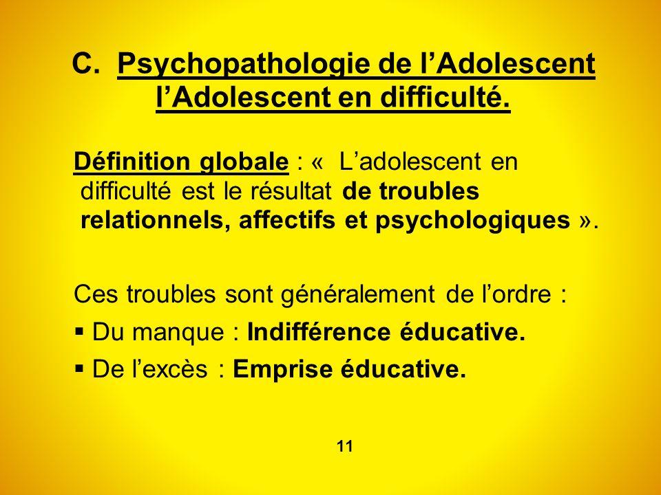 C. Psychopathologie de l'Adolescent l'Adolescent en difficulté.