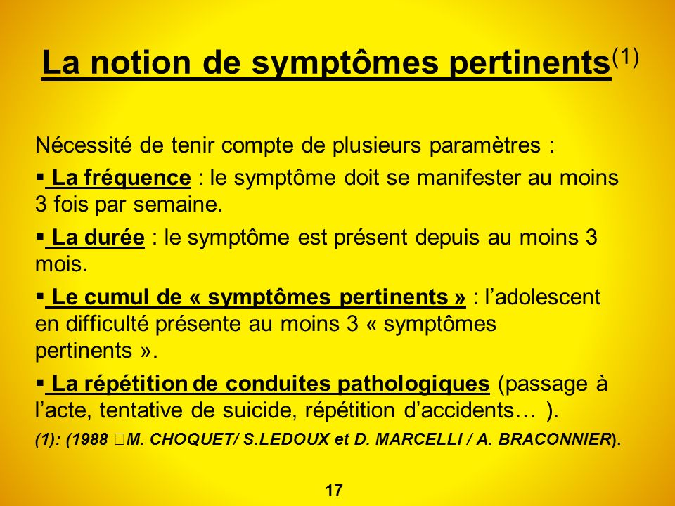 La notion de symptômes pertinents(1)