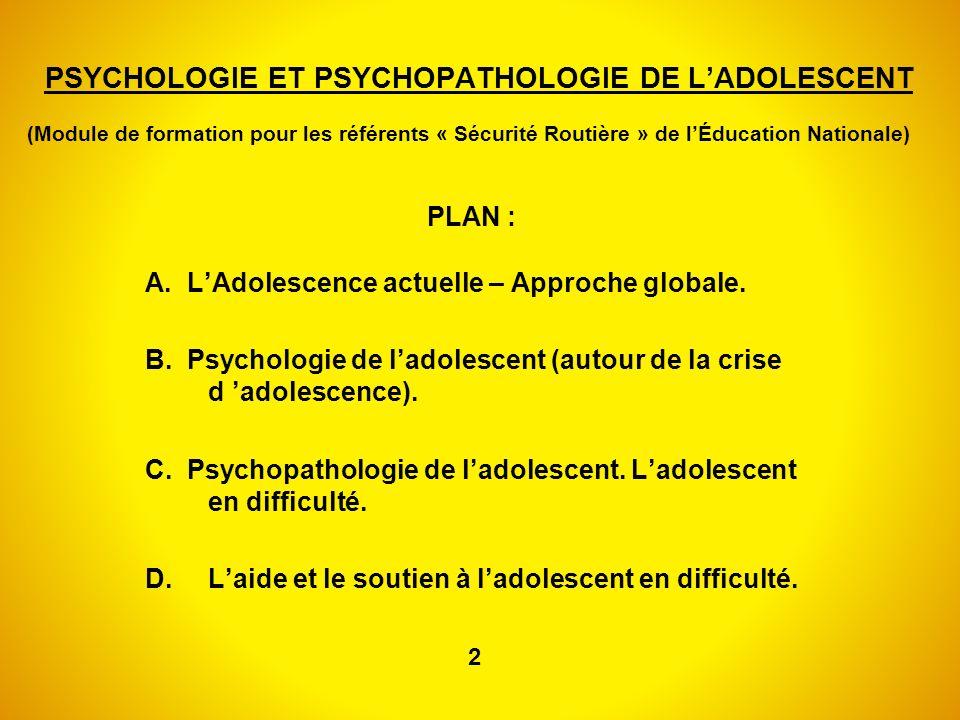 PSYCHOLOGIE ET PSYCHOPATHOLOGIE DE L'ADOLESCENT (Module de formation pour les référents « Sécurité Routière » de l'Éducation Nationale)