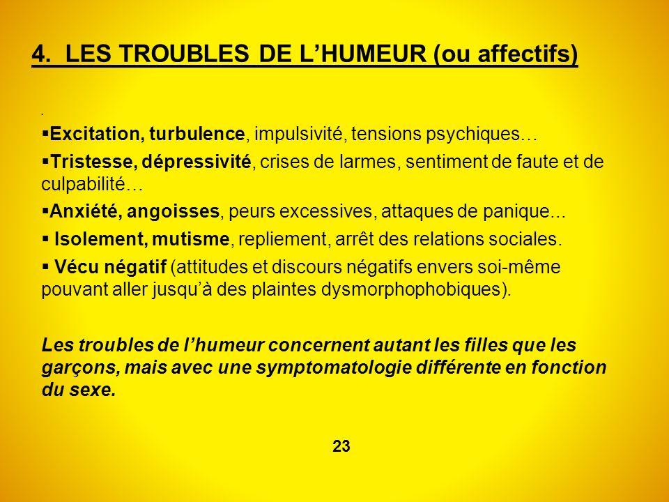 4. LES TROUBLES DE L'HUMEUR (ou affectifs)