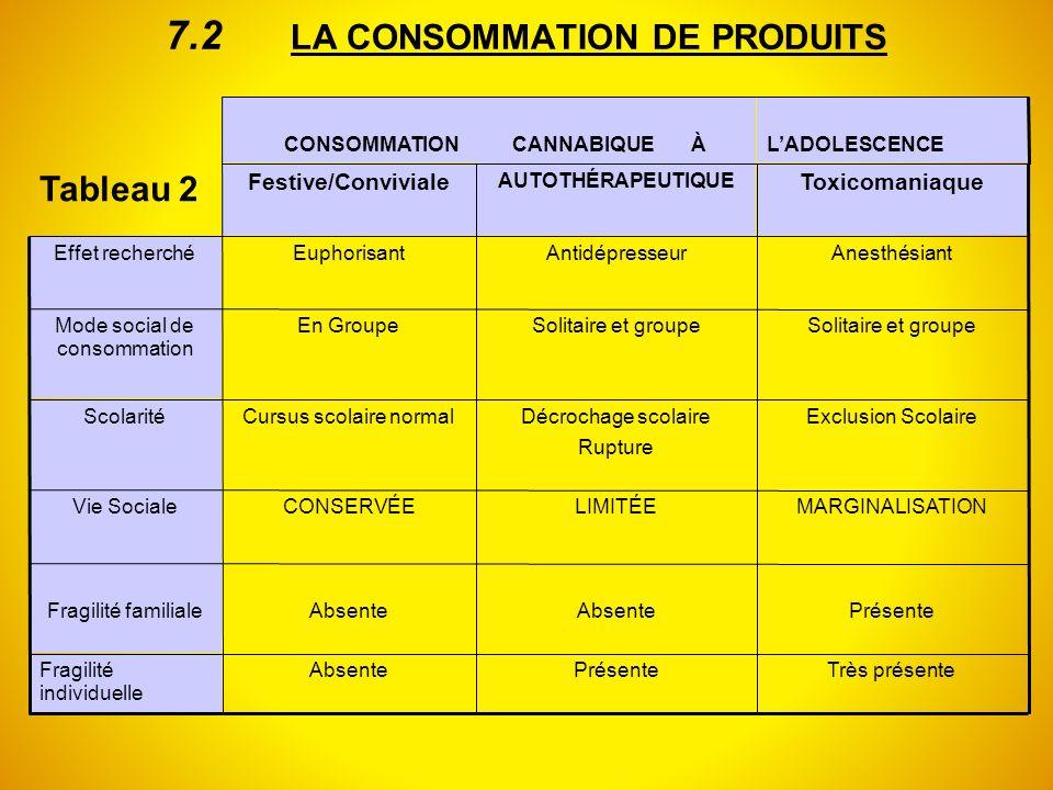 7.2 LA CONSOMMATION DE PRODUITS