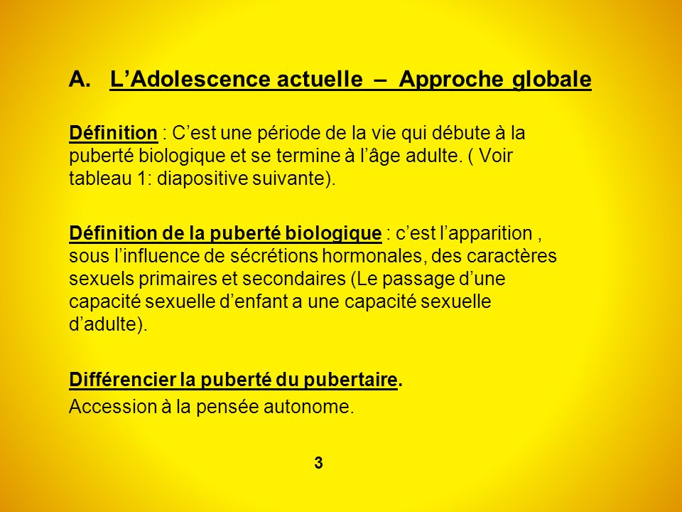 A. L'Adolescence actuelle – Approche globale