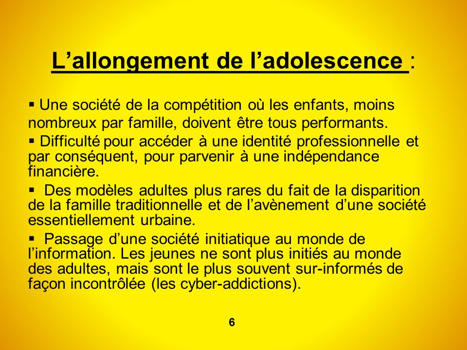 L'allongement de l'adolescence :