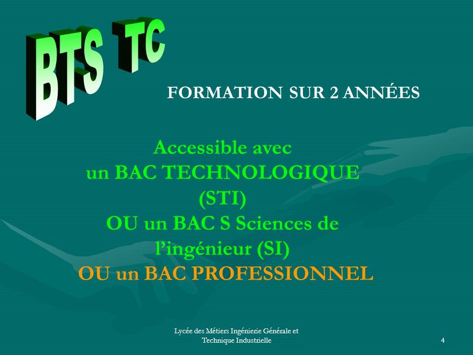 BTS TC Accessible avec un BAC TECHNOLOGIQUE (STI)