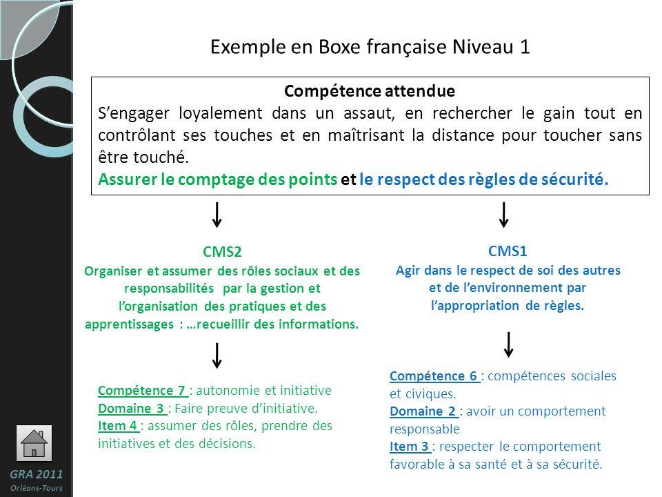 Exemple en Boxe française Niveau 1