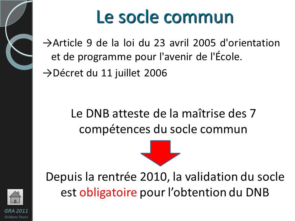Le DNB atteste de la maîtrise des 7 compétences du socle commun