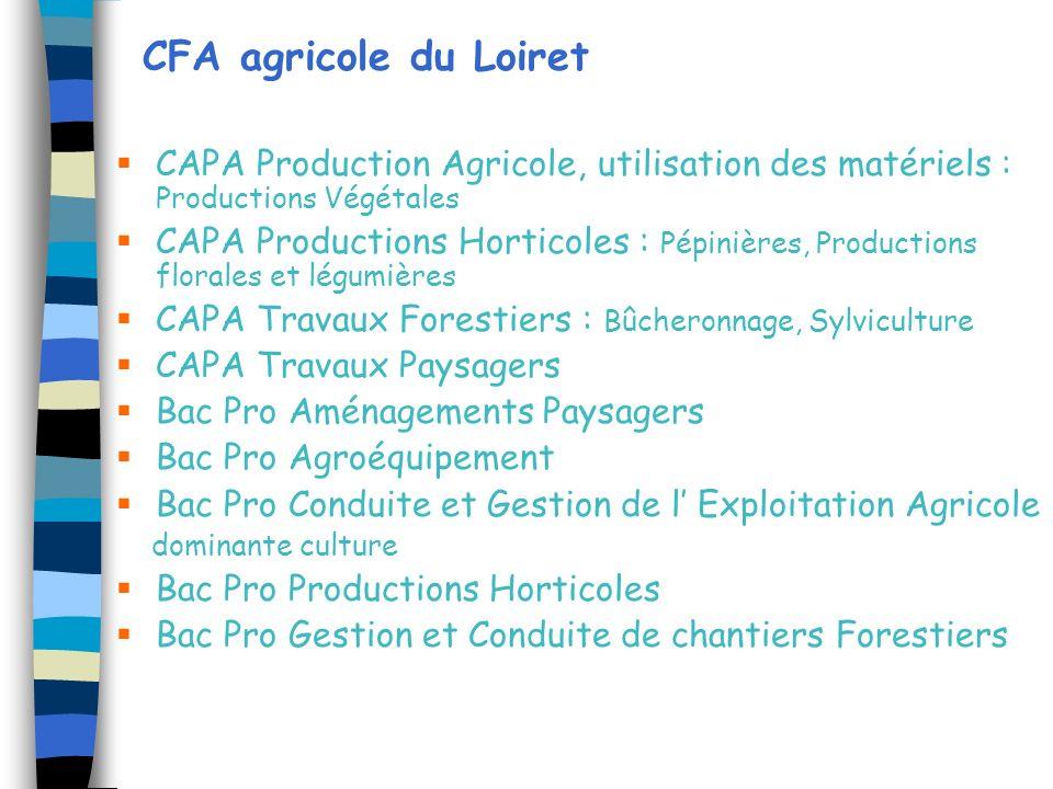CFA agricole du Loiret CAPA Production Agricole, utilisation des matériels : Productions Végétales.