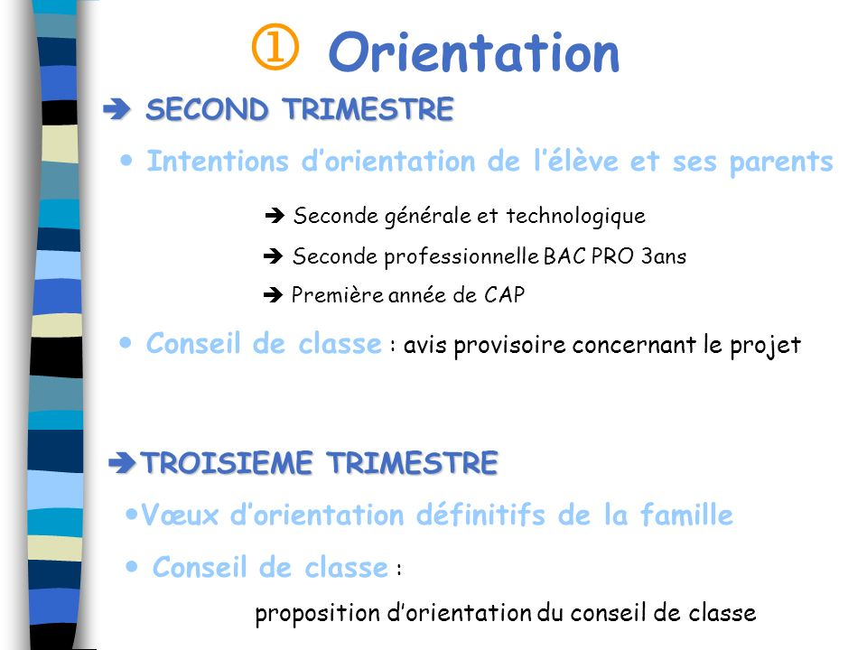  Orientation  SECOND TRIMESTRE