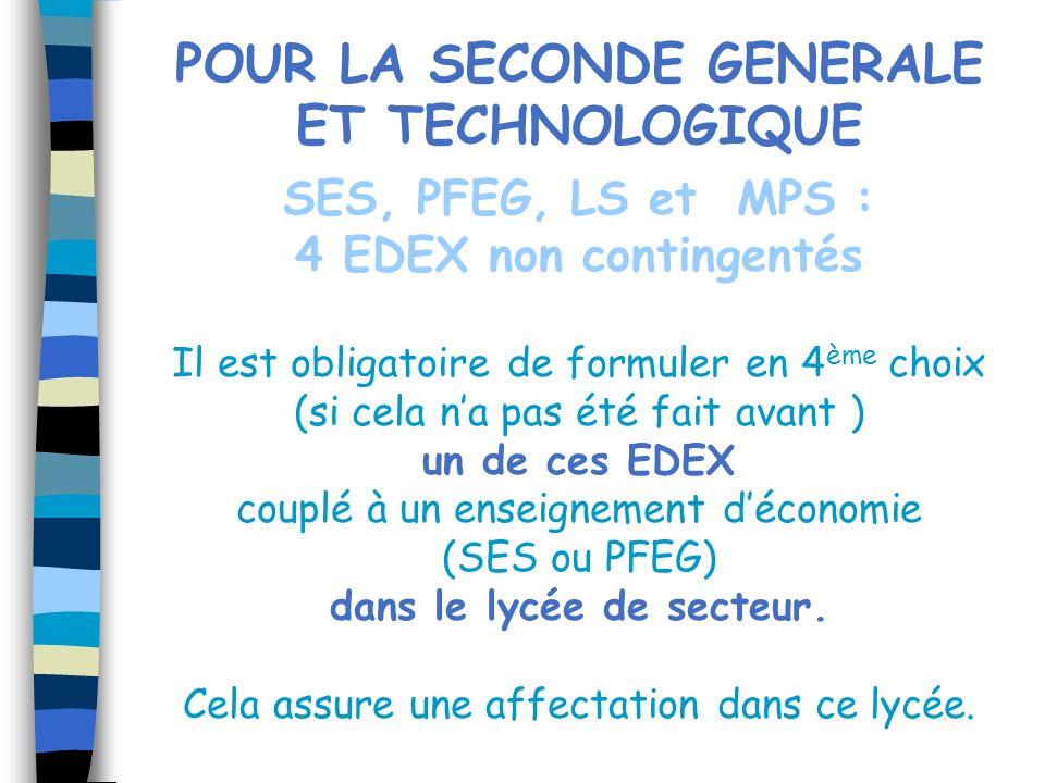 POUR LA SECONDE GENERALE ET TECHNOLOGIQUE dans le lycée de secteur.