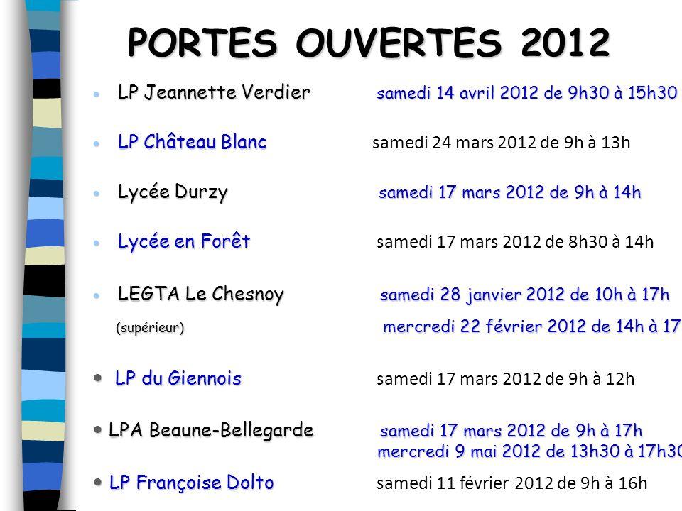 PORTES OUVERTES 2012 LP Jeannette Verdier samedi 14 avril 2012 de 9h30 à 15h30.