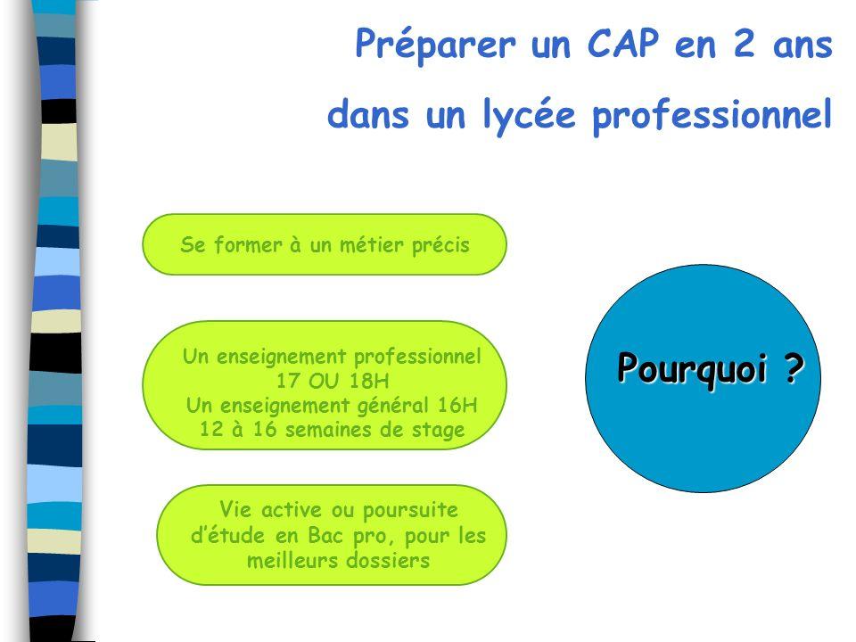Préparer un CAP en 2 ans dans un lycée professionnel