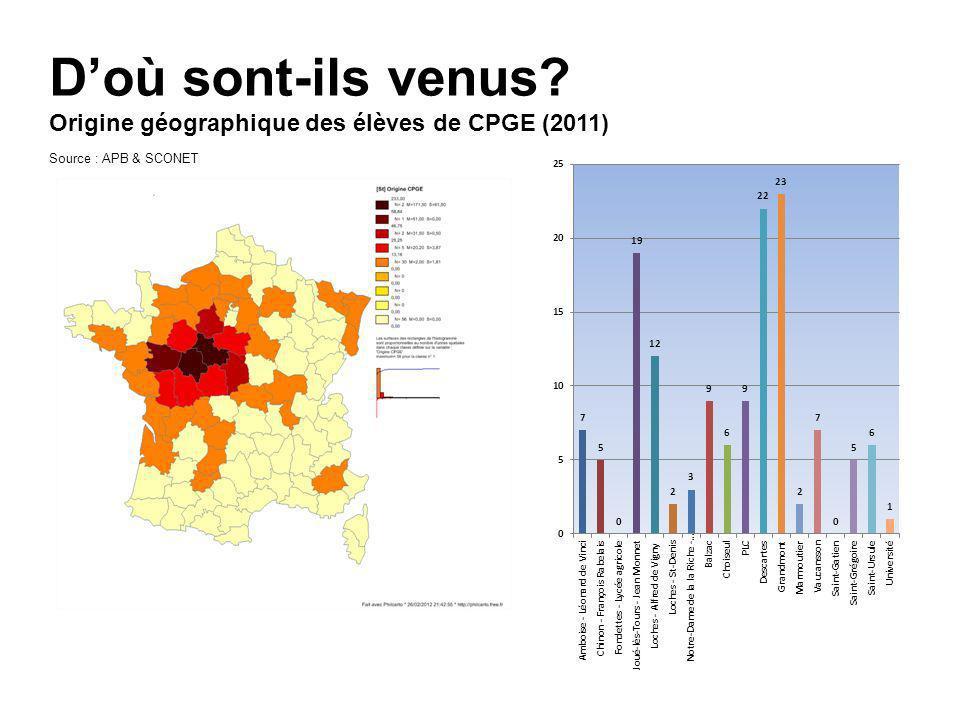 D'où sont-ils venus Origine géographique des élèves de CPGE (2011)