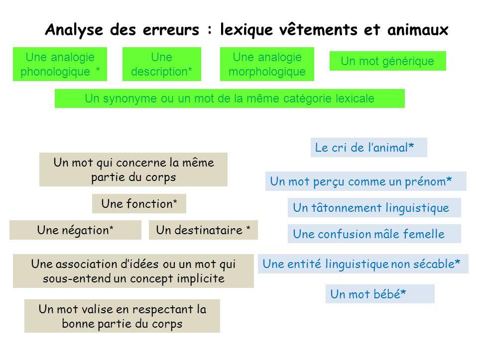 Analyse des erreurs : lexique vêtements et animaux
