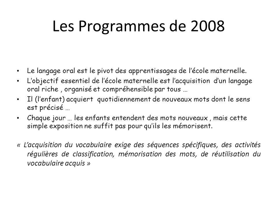 Les Programmes de 2008 Le langage oral est le pivot des apprentissages de l'école maternelle.
