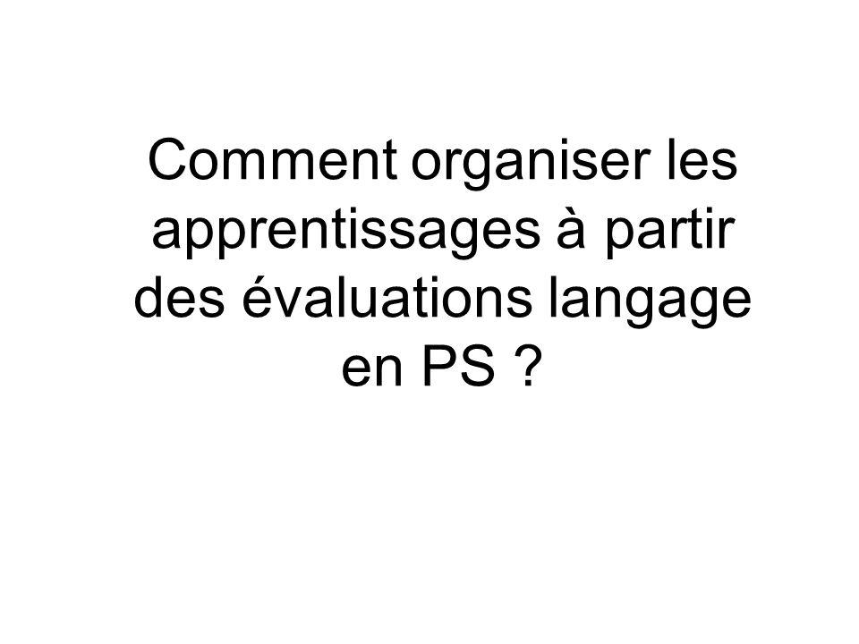 Comment organiser les apprentissages à partir des évaluations langage en PS