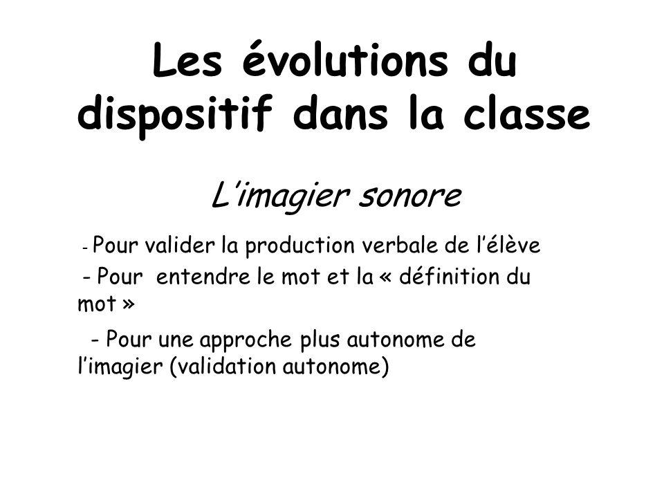 Les évolutions du dispositif dans la classe