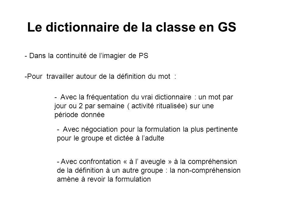 Le dictionnaire de la classe en GS