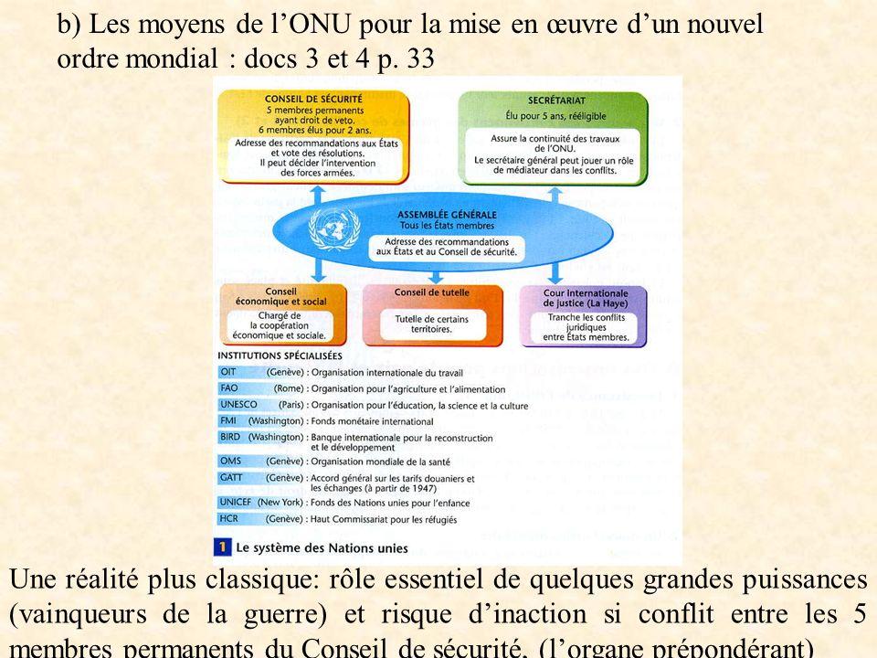 b) Les moyens de l'ONU pour la mise en œuvre d'un nouvel ordre mondial : docs 3 et 4 p. 33