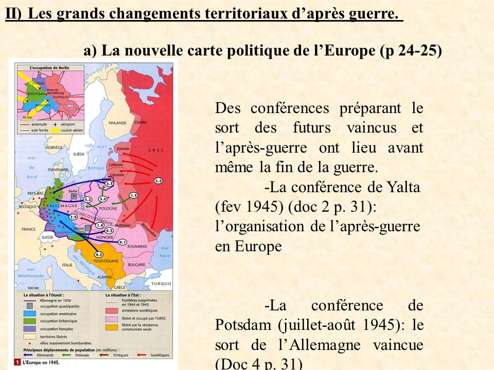 II) Les grands changements territoriaux d'après guerre.