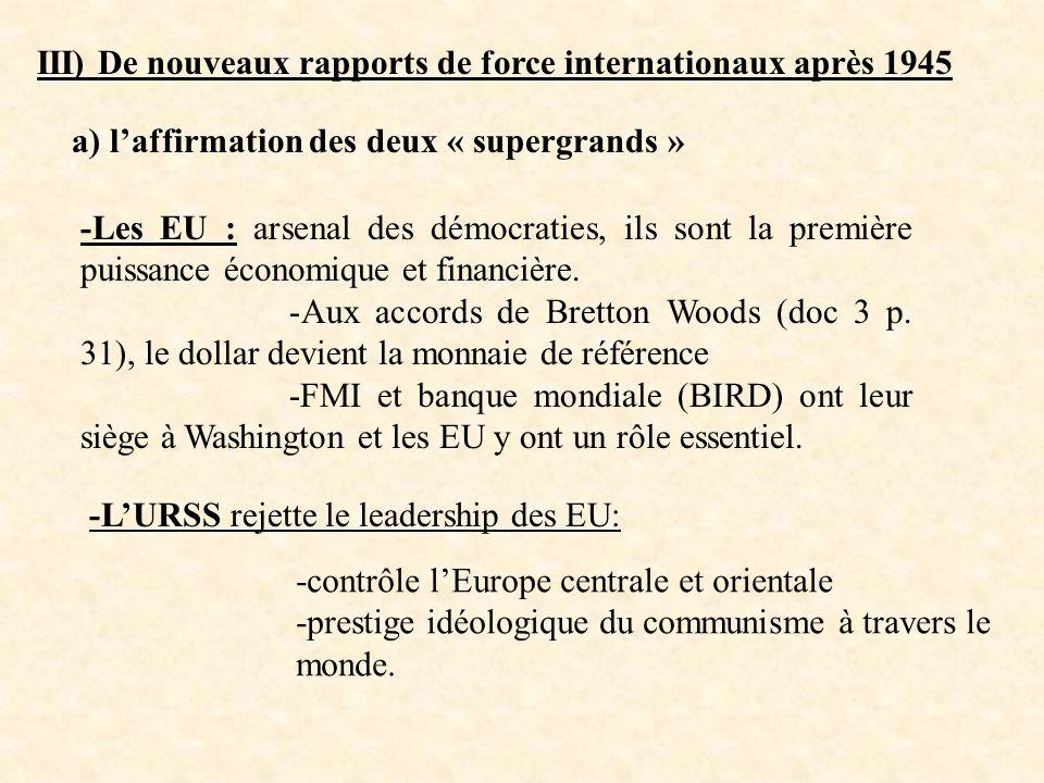 III) De nouveaux rapports de force internationaux après 1945
