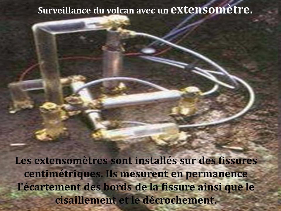 Surveillance du volcan avec un extensomètre.